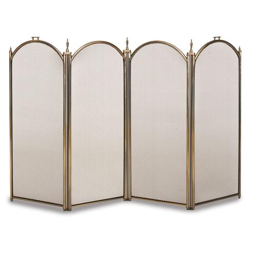 """28""""H Belvedere 4 Panel Folding Screen - Antique Brass"""
