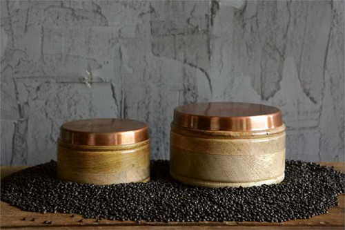 Round Wooden Box With Copper Lid Set of 2