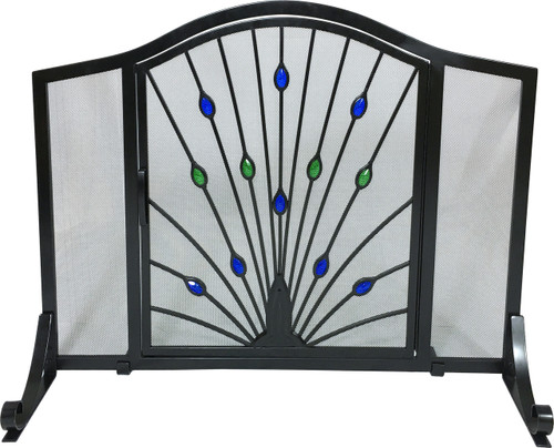 """Black Arched Panel Screen w Green and Blue Glass Peacock Design 33""""H x 44""""W"""