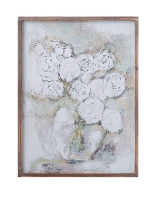"""24""""H Wood Framed Wall Décor with Flowers in Vase"""