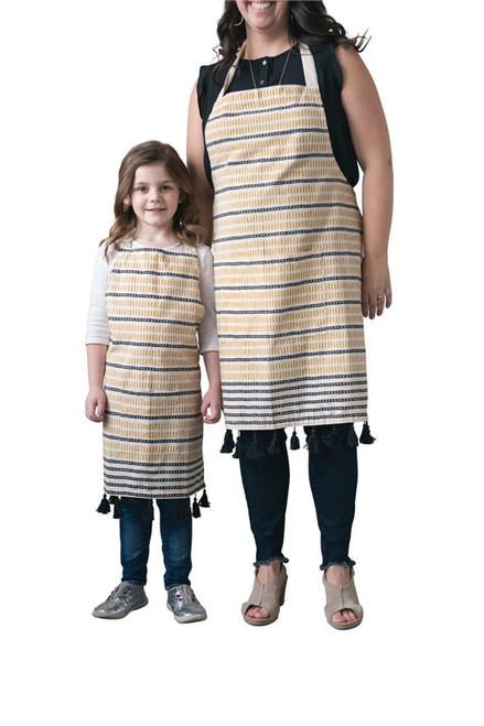 """32""""L Cotton Woven Apron with Pocket & Tassels Yellow & Black Striped"""