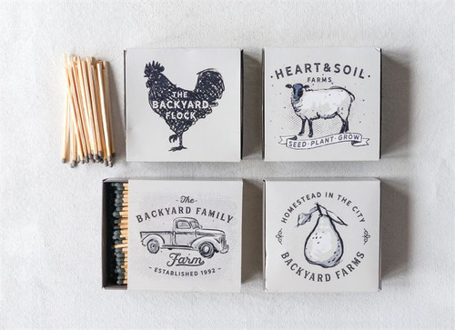 """4.25"""" Farm Themed Square Matchbox with Safety Matches"""
