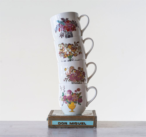 16 oz Stoneware Mug with Flowers