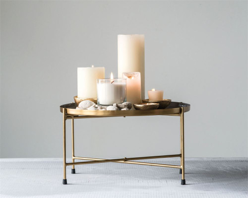 """15"""" Round Grey with Matte Brass Enameled Tray on Folding Stand"""