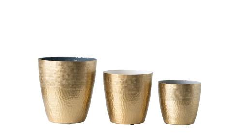 """9"""" Round Matte Brass Planter"""