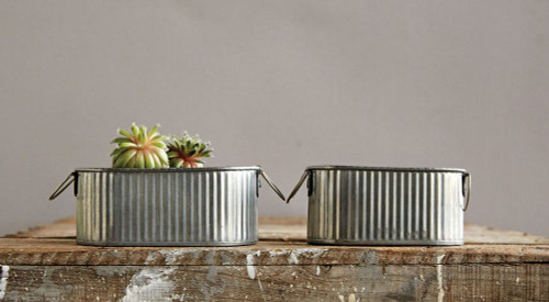 Corrugated Metal Buckets with Handles Set of Two