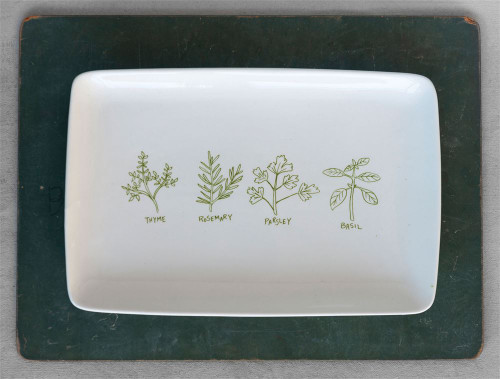 """12.5""""L Stoneware Platter with Herbs"""