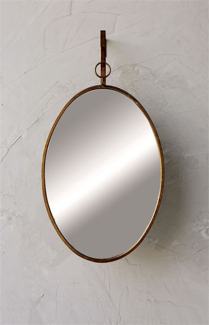 "26""H Oval Metal Framed Wall Mirror with Bracket in Distressed Gold"