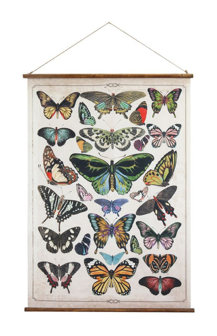 """41.5""""H Butterfly Canvas & Wood Scroll Wall Décor"""