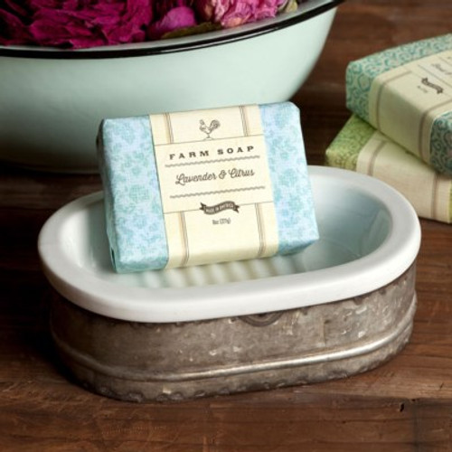 Tinwork and Porcelain Soap Dish