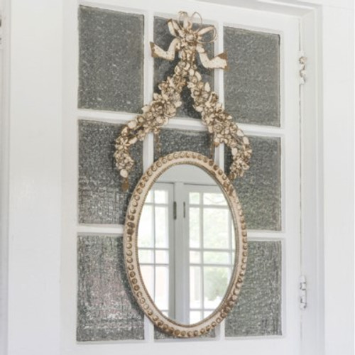 Petite Flower Oval Mirror