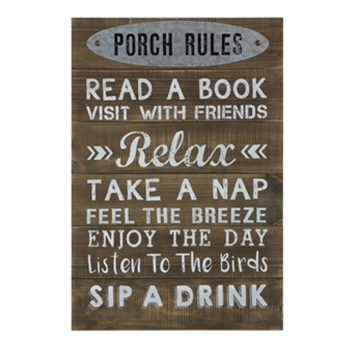 """Wood Wall Decor """"Porch Rules"""""""