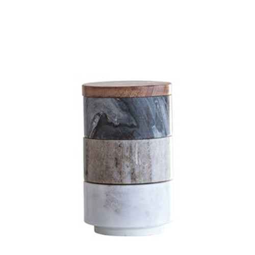 Round Marble Stacking Pinch Pots w/ Wood Lid