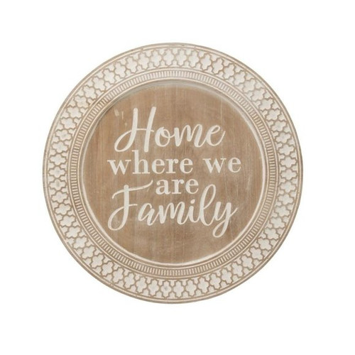 """Round Wood Tray """"Home Where We are Family"""""""