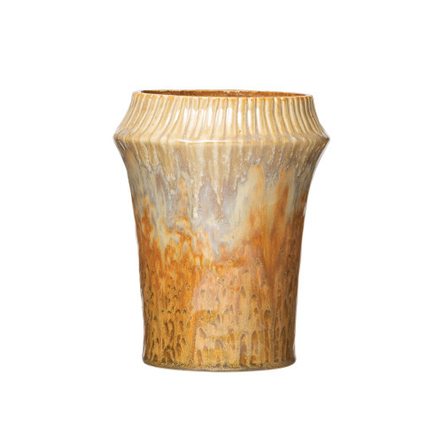 Stoneware Vase with Crimped top, Ginger Color