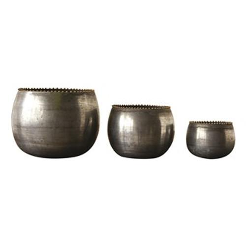 Round Metal Planters  Zinc Finish, Set of 3
