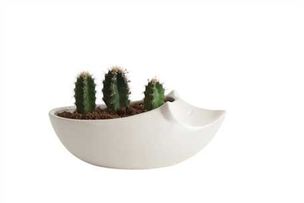 "Ceramic Mouse Shaped Planter, Matte White, Holds 3"" Pot"