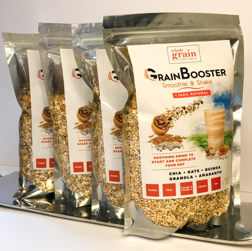 GrainBooster (4 Bags) – Delicious blend of whole grains & seeds (chia, quinoa, oats, amaranth, granola…)