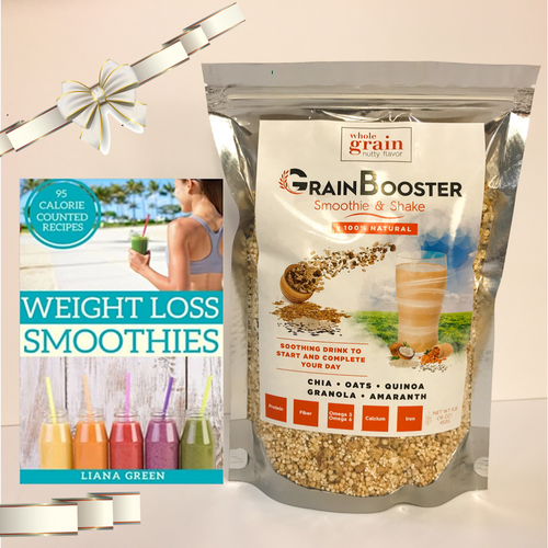 "GrainBooster Gift Set: 1 ""Weight Loss Smoothies"" 95 Recipes book + 1 bag of GrainBooster"