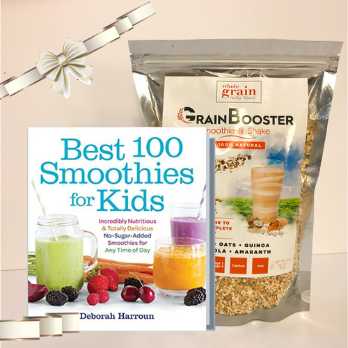 "GrainBooster Gift Set: 1 ""Best 100 Smoothies for Kids"" book + 1 bag of GrainBooster"