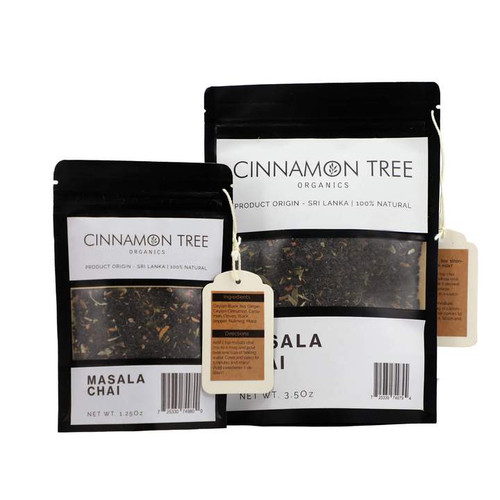 Cinnamon Tree Organics Masala Chai packets, bags of both sizes