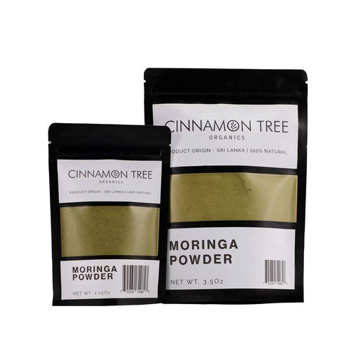 Cinnamon Tree Organics organically grown moringa powder packs, both bags