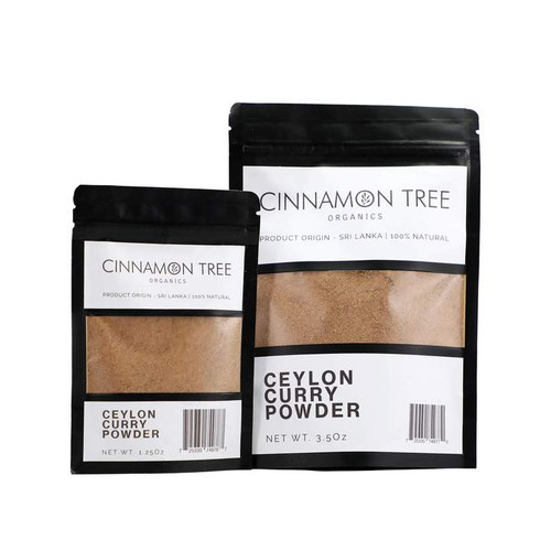 Cinnamon Tree Organics Ceylon curry powder packs, bags of both sizes