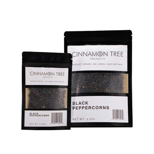 Cinnamon Tree Organics Organic black peppercorns, bags of both sizes