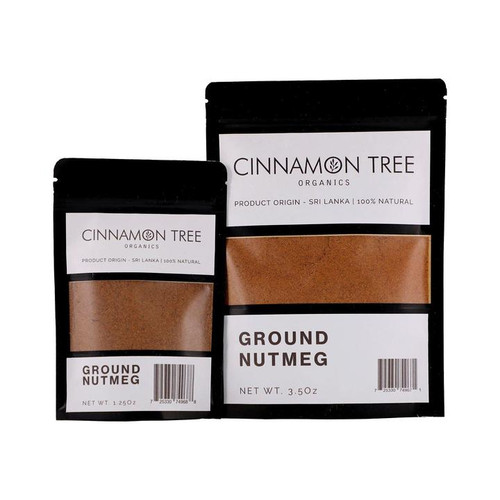 Cinnamon Tree Organics ground nutmeg, bags of both sizes