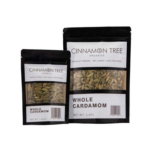 Cinnamon Tree Organics Green cardamom pods, bags of both sizes