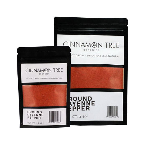 Cinnamon Tree Organics ground cayenne pepper, bags of both sizes