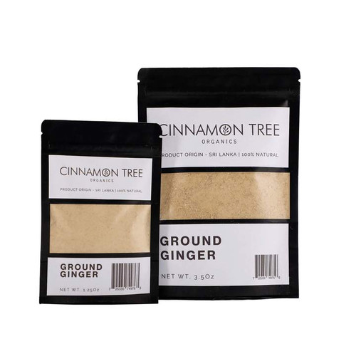 Cinnamon Tree Organics Ground Ginger, bags of both sizes