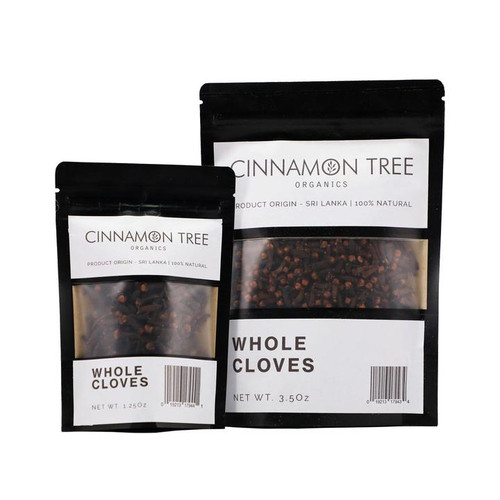 Cinnamon Tree Organics single origin whole cloves, bags of both sizes
