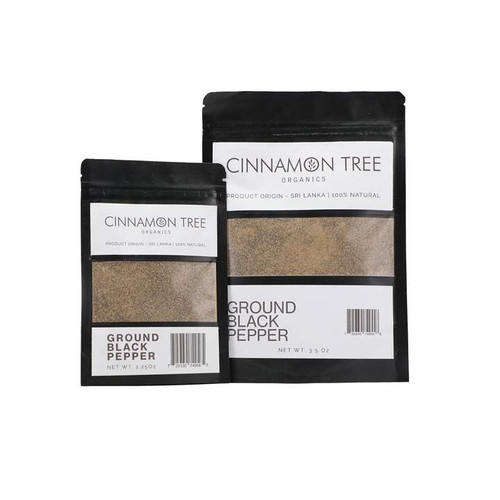 Cinnamon Tree Organics Organic ground black pepper and black peppercorns, bags of both sizes
