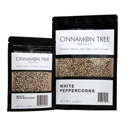 Cinnamon Tree Organics White Peppercorns, bags of both sizes
