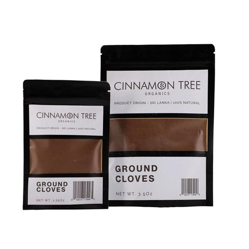 Cinnamon Tree Organics ground cloves, bags of both sizes