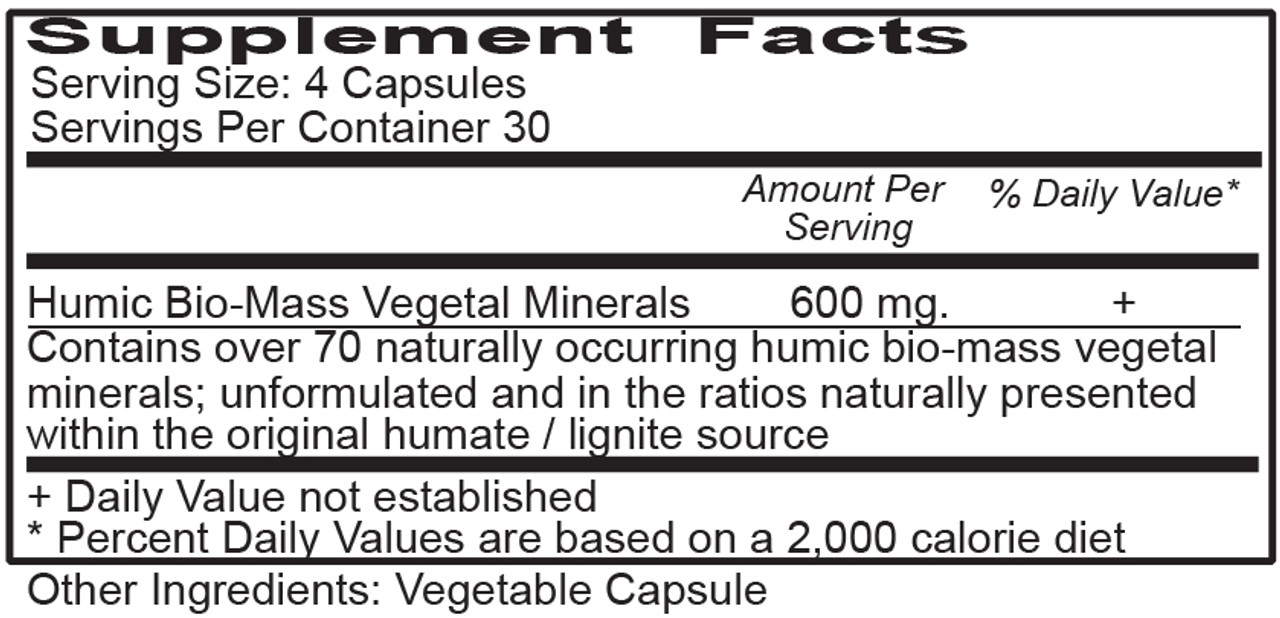 Humic Mineral Caps Supplement Facts