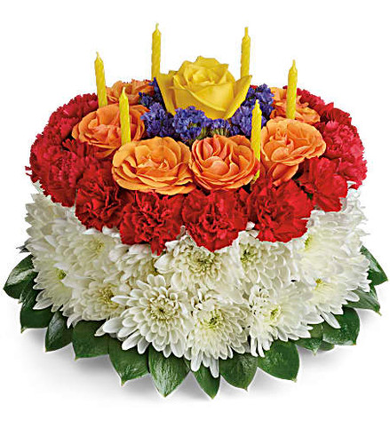 A slice of birthday fun! Creative and colorful, this birthday cake bouquet of roses, carnations and mums is a fun-filled surprise on their special day. Birthday candles top it off in festive style!