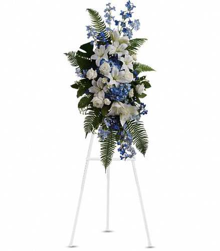 Express deep condolences and strong hopes for the future with an elegant tribute that conveys admiration, affection and respect. Soothing tones of Blues and whites in a classic, traditional style.