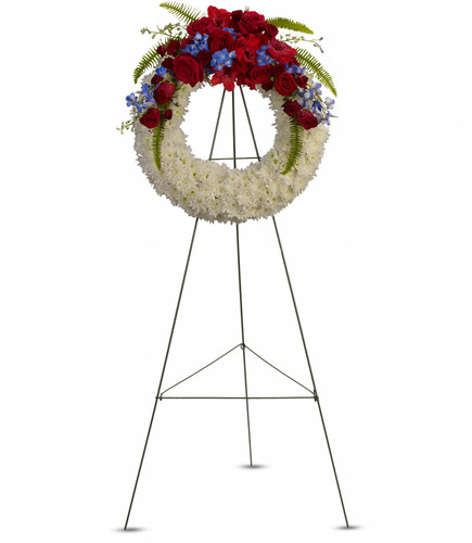Wreath, red white and blue standing spray