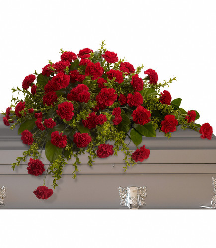 Casket Spray red carnations