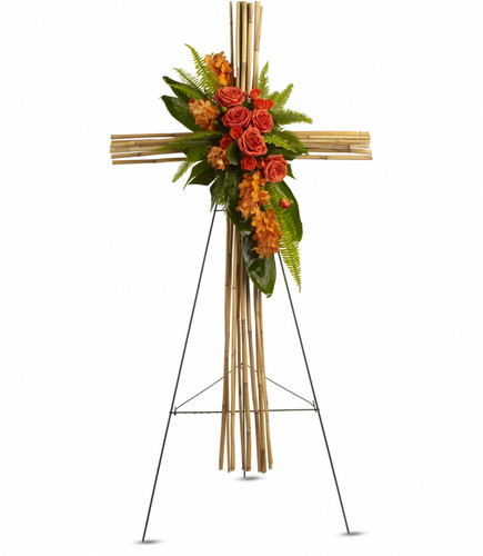 Standing Cross, river cane, orange and green flowers