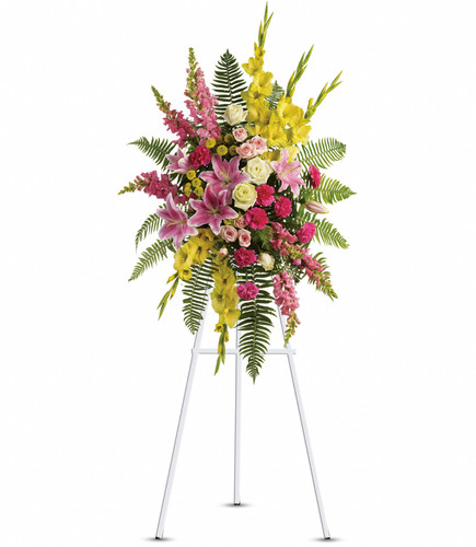 Standing Spray for the Service in yellows, pinks,  and white
