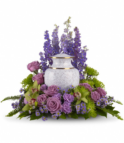 Soft lavender and green blooms to surround the urn, like a peaceful, contemplative garden for the cremation urn.