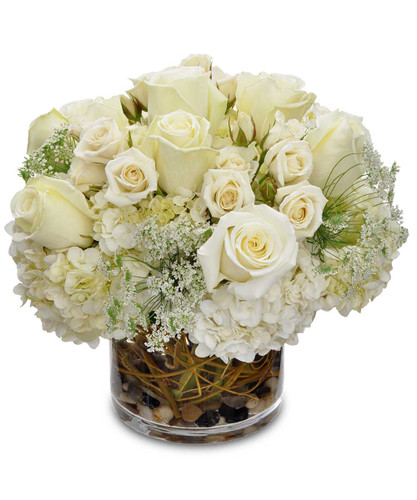 White hydrangea, white roses, curly willow, clear cylinder