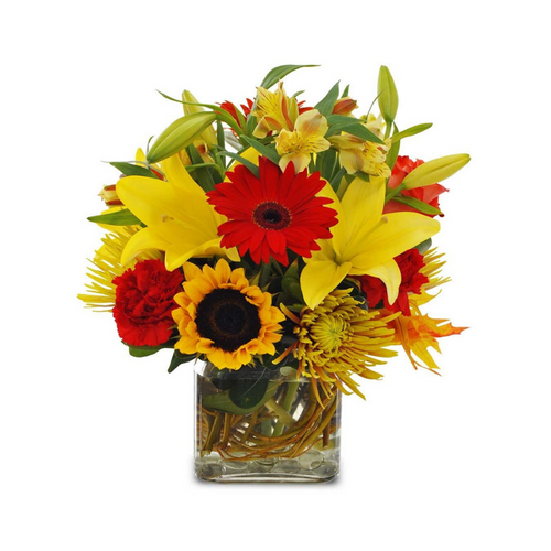 Send this colorful fall assortment of sunflowers, roses, and other seasonal blooms for any occasion. Perfect for a desk or counter, this arrangement evokes fond memories of Autumn.