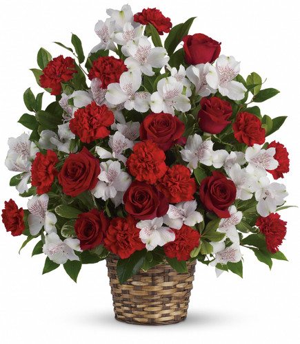 Red and white funeral basket for the home