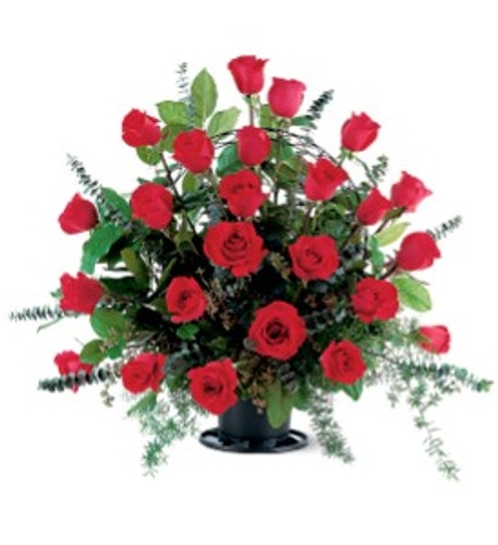24  Red Roses in  a funeral basket.
