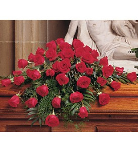 48  Red Roses to gently set on the casket lid.