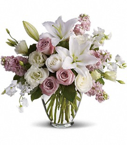 White flowers, stock, hints of lavender/pink